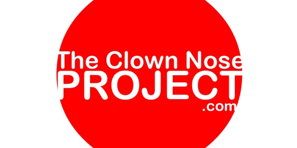 Clown nose background with title