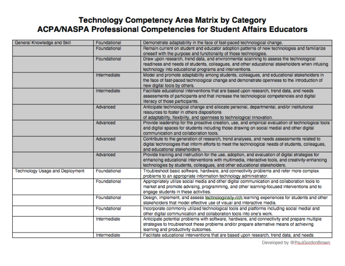 Competencies Matrix by Category